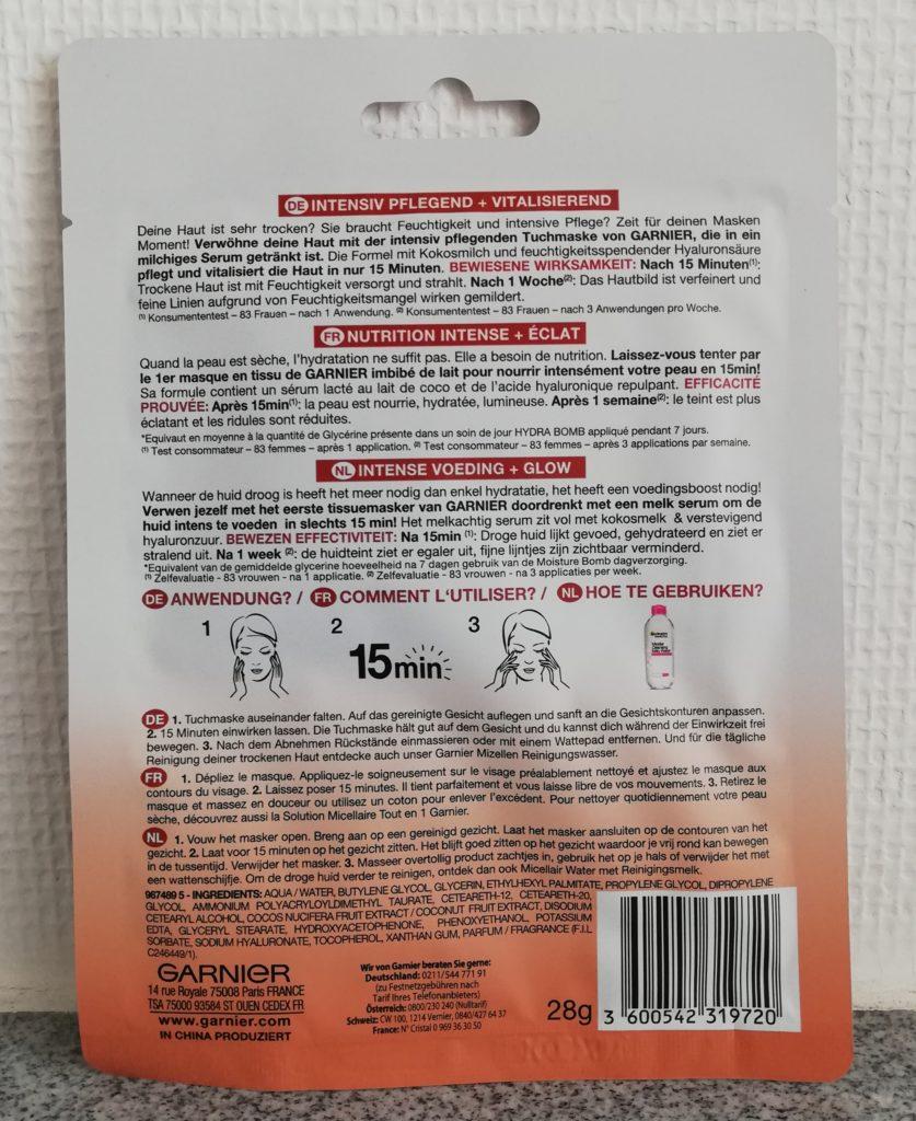 Pflege-Milch-Tuchmaske mit Kokosmilch Rückseite der Verpackung