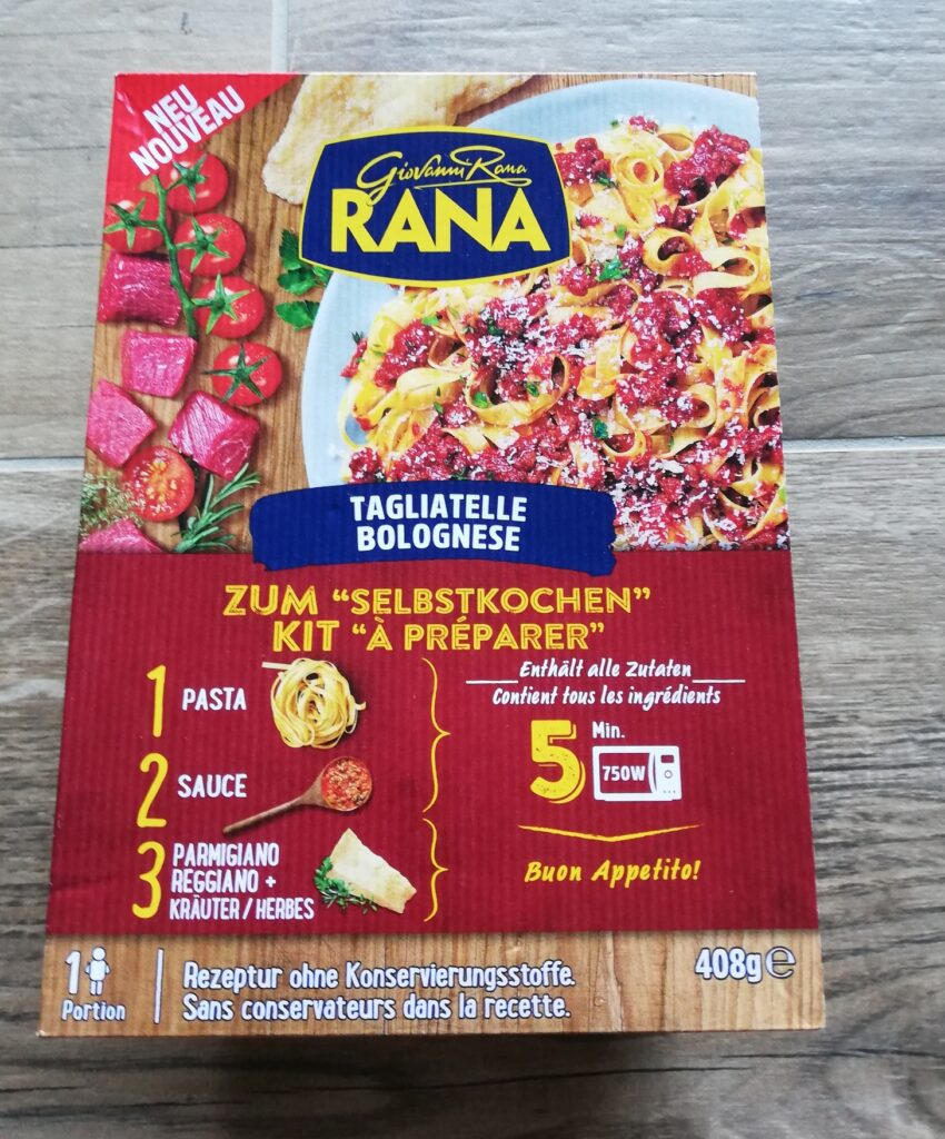 Verpackung Tagliatelle Bolognese