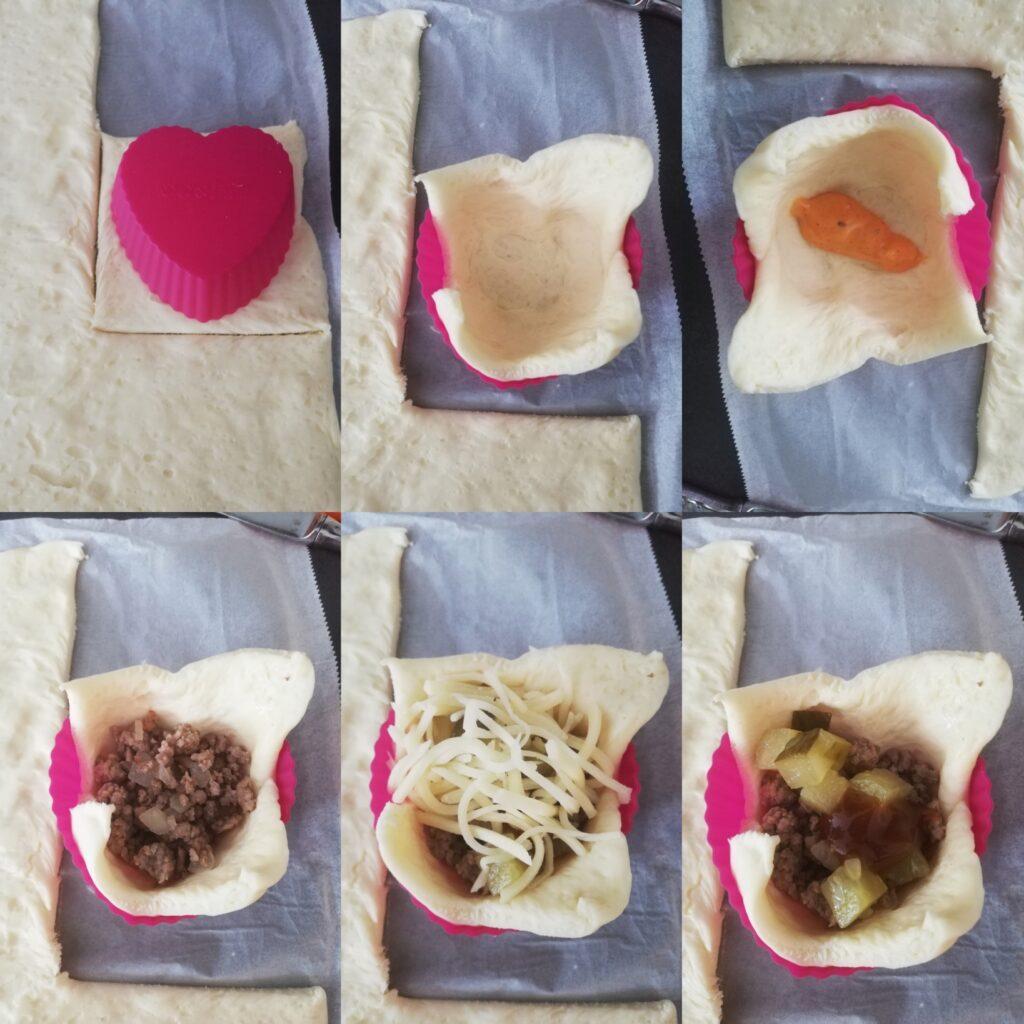 Zubereitungsschritte Cheeseburger Muffins